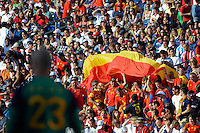 Spain fans celebrate as goalkeeper Jose Manuel Reina (23) looks on. The men's national team of Spain (ESP) defeated the United States (USA) 4-0 during a International friendly at Gillette Stadium in Foxborough, MA, on June 04, 2011.