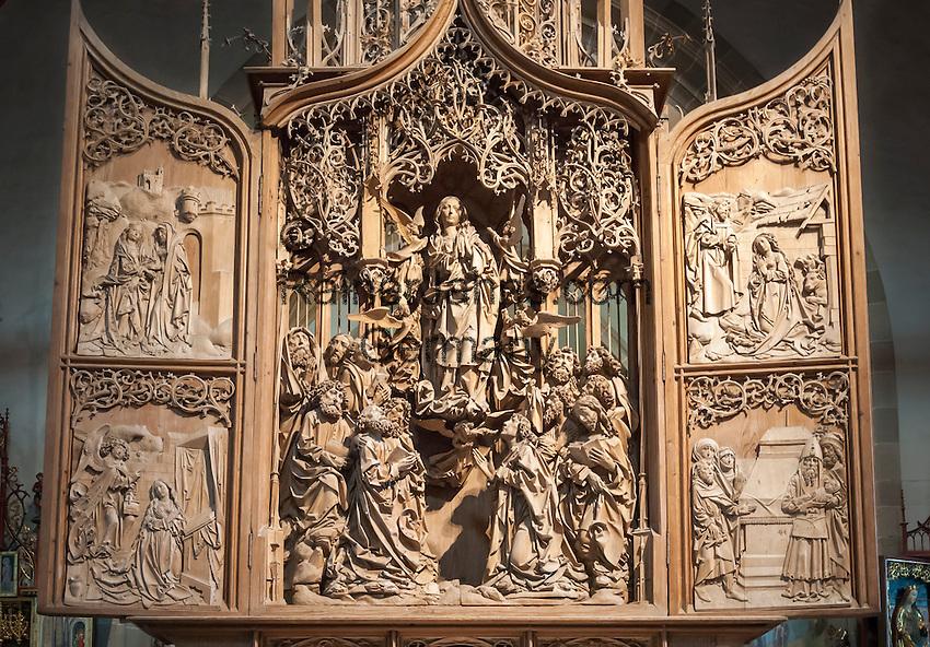 Germany, Baden-Wuerttemberg, Tauber Valley, Creglingen: Riemenschneider-Altar at God's church | Deutschland, Baden-Wuerttemberg, Taubertal, Creglingen: Riemenschneider-Altar in der Hergottskirche, Marien-Retabel