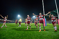 Picture by Allan McKenzie/SWpix.com - 13/04/2018 - Rugby League - Betfred Super League - Leeds Rhinos v Wigan Warriors - Headingley Carnegie Stadium, Leeds, England - Wigan celebrate victory over Leeds by thanking their fans.
