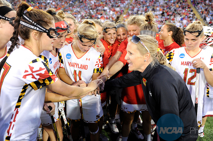 25 MAY 2014:   Head coach Cathy Reese talks to her team before the game against the Syracuse Orange during the Division I Women's Lacrosse Championship held at Unitas Stadium in Towson, MD.  Maryland defeated Syracuse 15-12 for the national title.  Greg Fiume/NCAA Photos