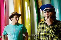Venice, California, December 8, 2008 - Brothers and long board surfers Chad (L) and Trace Marshall at the Mollusk Surf Shop in Venice Beach. The brothers along with Rick Klotz created the clothing line, Warriors of Radness.