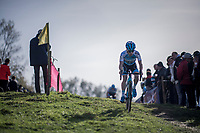 Eli Iserbyt (BEL/Marlux-Napoleon Games) leading the way<br /> <br /> U23 race<br /> Koppenbergcross / Belgium 2017