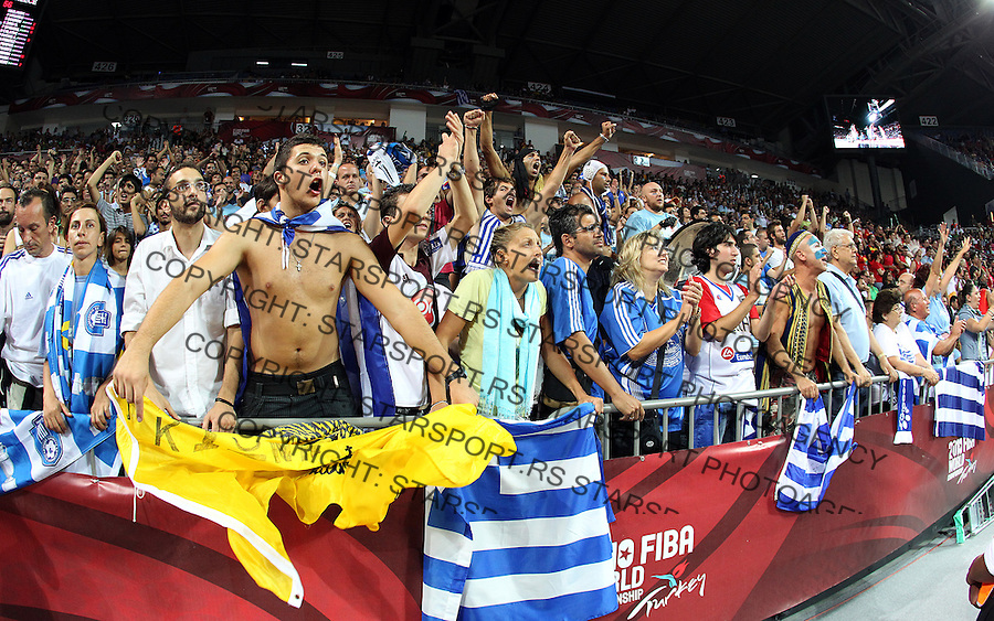 Greek fans during the eight-finals World championship basketball match against Spain in Istanbul, Spain-Greek, Turkey on Saturday, Sep. 04, 2010.(Novak Djurovic/Starsportphoto.com).