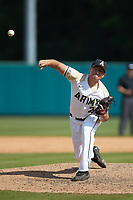 Army Black Knights relief pitcher Carter Van Gytenbeek (24) delivers a pitch to the plate against the North Carolina State Wolfpack at Doak Field at Dail Park on June 3, 2018 in Raleigh, North Carolina. The Wolfpack defeated the Black Knights 11-1. (Brian Westerholt/Four Seam Images)