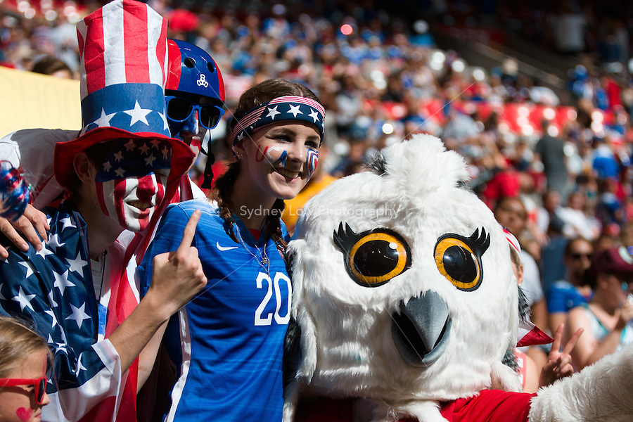 June 16, 2015: USA fans in the crowd for a Group D match at the FIFA Women's World Cup Canada 2015 between Nigeria and the USA at BC Place Stadium on 16 June 2015 in Vancouver, Canada. Sydney Low/Asteriskimages.com
