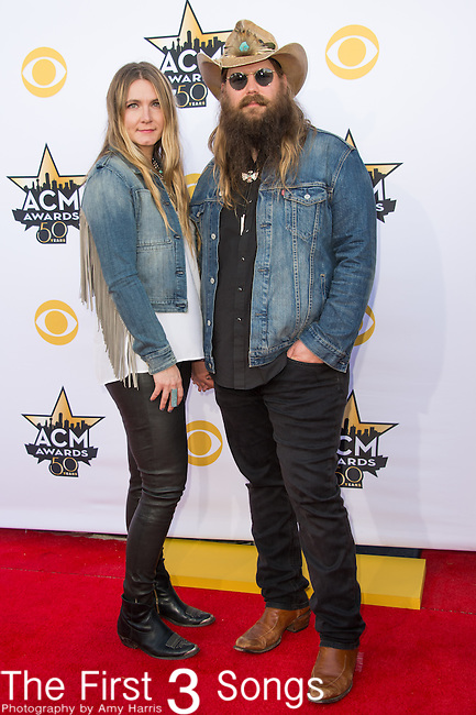 Morgane Stapleton and Chris Stapleton attend the 50th Academy Of Country Music Awards at AT&T Stadium on April 19, 2015 in Arlington, Texas.