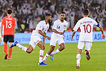 Abdel Aziz Hatim of Qatar (L) celebrates after scoring his goal with his teammates during the AFC Asian Cup UAE 2019 Quarter Finals match between Qatar (QAT) and South Korea (KOR) at Zayed Sports City Stadium  on 25 January 2019 in Abu Dhabi, United Arab Emirates. Photo by Marcio Rodrigo Machado / Power Sport Images