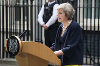 Prime Minister Theresa May outside 10 Downing Street in London, England. 13th July 2016.<br /> CAP/JWP<br /> &copy;JWP/Capital Pictures /MediaPunch ***NORTH AND SOUTH AMERICAS ONLY***