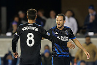 San Jose, CA - Saturday April 08, 2017: Chris Wondolowski, Marco Ureña  during a Major League Soccer (MLS) match between the San Jose Earthquakes and the Seattle Sounders FC at Avaya Stadium.