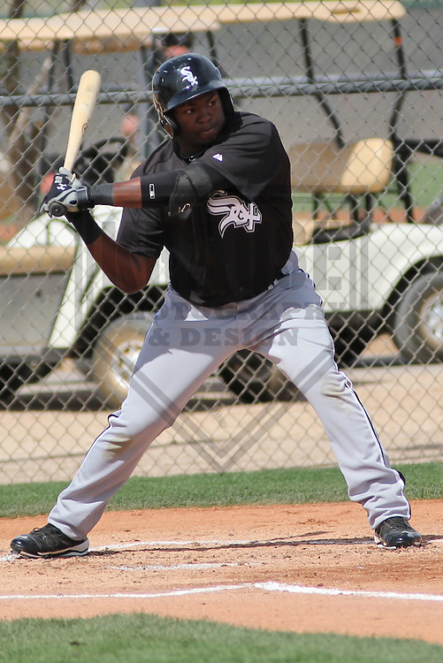 GLENDALE - March 2013: Courtney Hawkins (10)  of the Chicago White Sox during a Spring Training intrasquad game on March 21, 2013 at Camelback Ranch in Glendale, Arizona.  (Photo by Brad Krause).