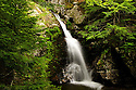 A wider view of cascade three along the scenic Cascade Trail in Waterville Valley New Hampshire.