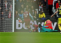 29th February 2020; London Stadium, London, England; English Premier League Football, West Ham United versus Southampton; Sebastien Haller of West Ham United slides the ball in to score his sides 2nd goal in the 40th minute to make it 2-1