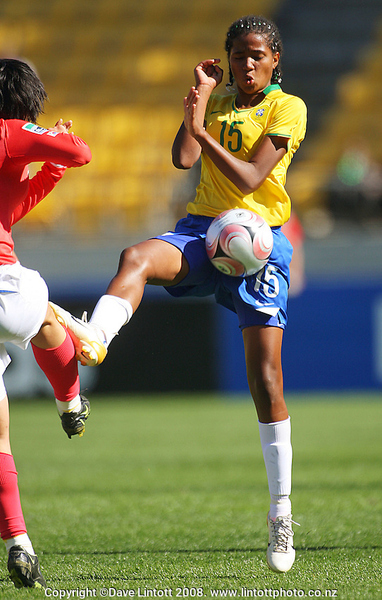 Juliana Cardoza blocks a pass during the FIFA Women's Under-17 World Cup pool match between Brazil and Korea Republic at Westpac Stadium, Wellington, New Zealand on Sunday, 2 October 2008. Photo: Dave Lintott / lintottphoto.co.nz