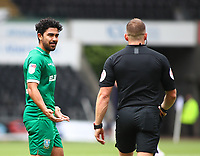 5th July 2020; Liberty Stadium, Swansea, Glamorgan, Wales; English Football League Championship, Swansea City versus Sheffield Wednesday; Massimo Luongo of Sheffield Wednesday appeals to Referee Stephen Martin over Andre Ayew of Swansea City's penalty technique