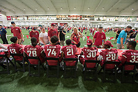 NWA Democrat-Gazette/J.T. WAMPLER Hog fans line up for autographs Saturday August 12, 2017 during the RazorbacksÕ annual Fan Day at the University of Arkansas. Football players and coaches were available for autographs  with the soccer and volleyball teams. The Hogs' football season begins Aug. 31 at War Memorial Stadium in Little Rock against Florida A&M.