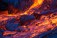 Blue Ribbon Lava: Blue light shines on this ribbon-shaped lava flow, 61g lava flow field, Hawai'i Volcanoes National Park, Big Island.