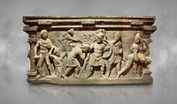 Roman relief sculpted sarcophagus of Aurelia Botiano and Demetria, 2nd century AD, Perge Inv 1.35.99. Antalya Archaeology Museum, Turkey.