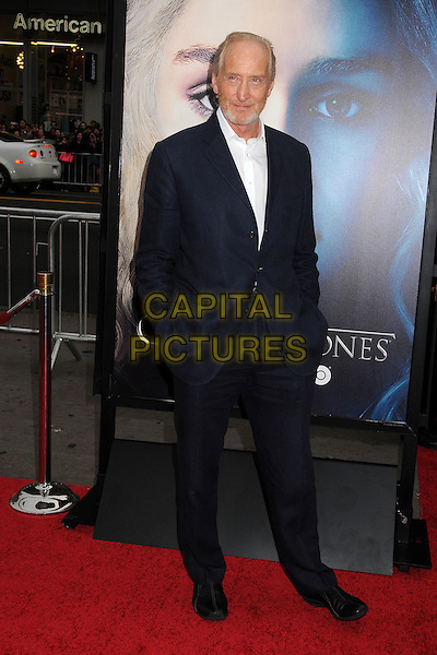 "Charles Dance.""Game Of Thrones"" 3rd Season Los Angeles Premiere held at the TCL Chinese Theatre, Hollywood, California, USA..March 18th, 2013.full length hands in pockets white shirt blue black suit beard facial hair .CAP/ADM/BP.©Byron Purvis/AdMedia/Capital Pictures."