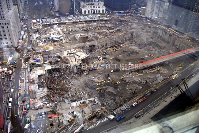 ***NO USA SYNDICATION RIGHTS***..   ..New York, NY, March 15, 2002 -- An aerial view of Ground Zero shows the enormous progress made on clean-up of the site six months after the World Trade Center attack. To date, more than 1.4 million tons of debris have been removed from the area. Please byline: FEMA/NY Photo Press.   ....NY Photo Press:  ..phone (646) 267-6913;   ..e-mail: info@nyphotopress.com
