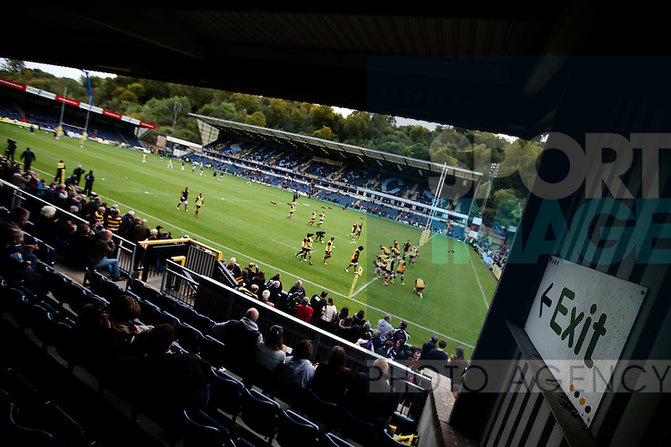 Wasps warm up on the field before the first match after having announced that they will be leaving Adam's Park and moving to Coventry - Rugby Union - 2014 / 2015 Aviva Premiership - Wasps vs. Bath - Adams Park Stadium - London - 11/10/2014 - Pic Charlie Forgham-Bailey/Sportimage