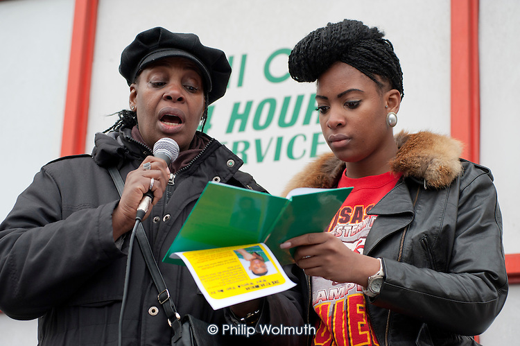 Winklet and Cherell Smith, mother and twin sister of Daniel Omari Smith, who was mudered in a drive-by shooting on the Harrow Road in May 2010.  Community Rally organised by the Tell It Parents' Action Group to launch a campaign aimed at addressing the problem of gang violence in North Westminster.