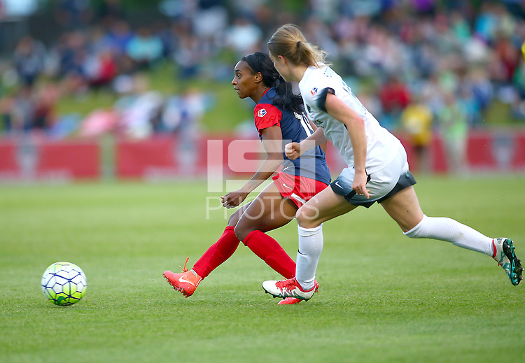Boyds, MD - Saturday May 07, 2016: Washington Spirit forward Crystal Dunn (19) passes away from Portland Thorns FC defender Emily Sonnett (16) during a regular season National Women's Soccer League (NWSL) match at Maureen Hendricks Field, Maryland SoccerPlex. Washington Spirit tied the Portland Thorns 0-0.
