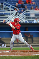 Williamsport Crosscutters shortstop Dylan Bosheers (17) at bat during a game against the Batavia Muckdogs on August 29, 2015 at Dwyer Stadium in Batavia, New York.  Williamsport defeated Batavia 7-3.  (Mike Janes/Four Seam Images)