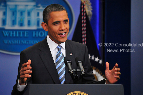 United States President Barack Obama conducts a press conference in the Brady Press Briefing Room at the White House in Washington, D.C. on Friday, July 15, 2011.  .Credit: Ron Sachs / CNP.(RESTRICTION: NO New York or New Jersey Newspapers or newspapers within a 75 mile radius of New York City)