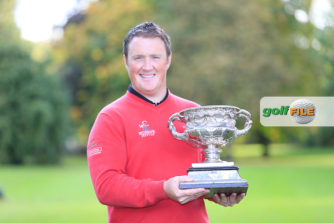 Michael McGeedy winner of The Cassidy Golf 103rd Irish PGA Championship in Roganstown Golf Club on Saturday 13th October 2013.<br /> Picture Fran Caffrey www.golffile.ie