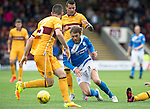 Motherwell v St Johnstone&hellip;13.08.16..  Fir Park  SPFL<br />Murray Davidson is fouled by Marvin Johnson<br />Picture by Graeme Hart.<br />Copyright Perthshire Picture Agency<br />Tel: 01738 623350  Mobile: 07990 594431