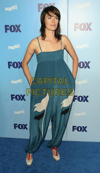 LENA HEADEY.2008 Fox Televison Network Upfront (programming presentation to advertisers) at Wollman Rink in Central Park, New York, NY, USA..May 15th, 2008.full length blue white black print jumpsuit wide legs hands in pockets .CAP/LNC/TOM.©TOM/LNC/Capital Pictures.
