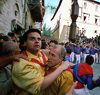 Gubbio 15 MAY 2004..Festival of the Ceri..The run of the Ceri of the afternoon....http://www.ceri.it/ceri_eng/index.htm..