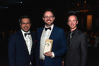 From left, Kane Patena, PaperKite chief executive Nic Gibbens and Matt Hoyle celebrate after PaperKite won the Emerging Gold Services Award. Wellington Gold Awards at TSB Bank Arena, Wellington, New Zealand on Thursday, 9 July 2015. Photo: Dave Lintott / lintottphoto.co.nz