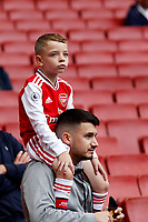 A young Arsenal fan and his dad during the Premier League match between Arsenal and Aston Villa at the Emirates Stadium, London, England on 22 September 2019. Photo by Carlton Myrie / PRiME Media Images.