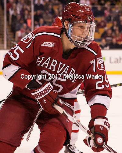 Wiley Sherman (Harvard - 25) - The Harvard University Crimson defeated the Boston University Terriers 6-3 (EN) to win the 2017 Beanpot on Monday, February 13, 2017, at TD Garden in Boston, Massachusetts.