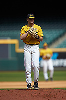 Missouri Tigers starting pitcher Konnor Ash looks to his catcher for the sign against the Oklahoma Sooners in game four of the 2020 Shriners Hospitals for Children College Classic at Minute Maid Park on February 29, 2020 in Houston, Texas. The Tigers defeated the Sooners 8-7. (Brian Westerholt/Four Seam Images)