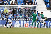 7th January 2018, Estadio Municipal de Butarque, Legales, Spain; La Liga football, Leganes versus Real Sociedad; Willian Jose (Real Sociedad) shields the ball from Ezequiel Munoz (Leganes FC)
