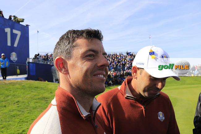 Rory McIlroy and Sergio Garcia (Team Europe) win the match against Tony Finau and Rickie Fowler (Team USA) on the 17th green during Saturday's Fourball Matches at the 2018 Ryder Cup 2018, Le Golf National, Ile-de-France, France. 29/09/2018.<br /> Picture Eoin Clarke / Golffile.ie<br /> <br /> All photo usage must carry mandatory copyright credit (© Golffile | Eoin Clarke)