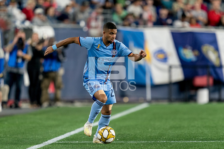 FOXBOROUGH, MA - SEPTEMBER 29: Ismael Tajouri-Shradi #29 of New York City FC dribbles during a game between New York City FC and New England Revolution at Gillette Stadium on September 29, 2019 in Foxborough, Massachusetts.