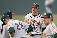 June 22, 2008: The Boise Hawks' Josh Vitters, the Chicago Cubs' #1 prospect according to Baseball America, prepares for a Northwest League game against the Everett AquaSox at Everett Memorial Stadium in Everett, Washington.