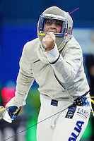 27 FEB 2011 - LONDON, GBR - Italy's Alessandra Lucchino celebrates a point during the bronze medal match against Poland at fencing's  England Cup team sabre tournament at  the National Sports Centre at Crystal Palace. Poland won 45-44 .(PHOTO (C) NIGEL FARROW)