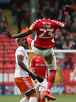 Charlton Athletic's Mouhamadou-Naby Sarr accidentally kicks Blackpool's Armand Gnanduillet in the face<br /> <br /> Photographer David Shipman/CameraSport<br /> <br /> The EFL Sky Bet League One - Charlton Athletic v Blackpool - Saturday 16th February 2019 - The Valley - London<br /> <br /> World Copyright © 2019 CameraSport. All rights reserved. 43 Linden Ave. Countesthorpe. Leicester. England. LE8 5PG - Tel: +44 (0) 116 277 4147 - admin@camerasport.com - www.camerasport.com