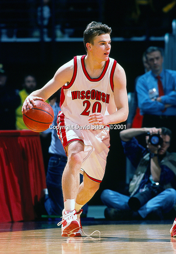 University of Wisconsin guard (20) Kirk Penney during the Indiana University game at the Kohl Center on 1/4/01 in Madison, WI.  The Badgers beat Indiana in the Big Ten opener 49-46. (Photo by David Stluka)