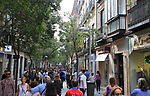 Busy pedestrianised shopping street, Calle Fuencarral, Madrid city centre, Spain