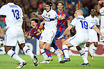 Football - FC Barcelona v Inter Milan UEFA Champions League Semi Final Second Leg - Camp Nou Stadium, Barcelona, Spain - 28/4/10 Inter Milan's Chivu and Esteban Cambiasso and  Lionel Messi of Barcelona
