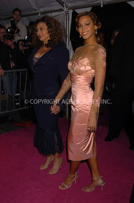 "WWW.ACEPIXS.COM . . . . .  ....February 6 2006, New York City....Tina Knowles and Beyonce Knowles attends Columbia Pictures' New York premiere of ""The Pink Panther"" .....Please byline: AJ Sokalner - ACEPIXS.COM.... *** ***..Ace Pictures, Inc:  ..Philip Vaughan (212) 243-8787 or (646) 769 0430..e-mail: info@acepixs.com..web: http://www.acepixs.com"
