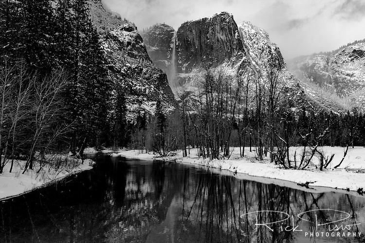 Yosemite Falls and the Merced River, Yosemite National Park.