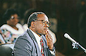 Judge Clarence Thomas testifies during the hearing before the US Senate Judiciary Committee to confirm him as Associate Justice of the US Supreme Court in the US Senate Caucus Room in Washington, DC on September 11, 1991.  Thomas was nominated for the position by US President George H.W. Bush on July 1, 1991 to replace retiring Justice Thurgood Marshall.<br /> Credit: Arnie Sachs / CNP