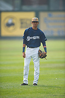 Helena Brewers infielder Luis Avila (13) warms up before a Pioneer League game against the Grand Junction Rockies at Kindrick Legion Field on August 19, 2018 in Helena, Montana. The Grand Junction Rockies defeated the Helena Brewers by a score of 6-1. (Zachary Lucy/Four Seam Images)