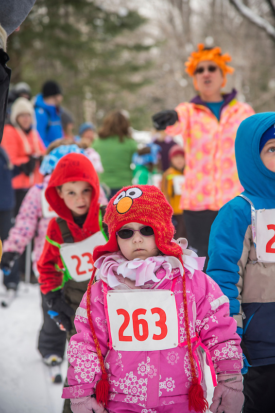 Valley Spur kids ski race at Valley Spur Ski Area of the Hiawatha National Forest near Munising, Michigan.